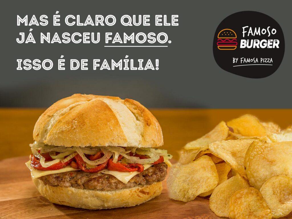 O hambúrguer da Famosa Pizza já está no cardápio   Foto: Divulgação