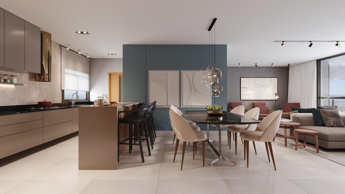 Cozinha Gourmet integrada à Sala de Jantar | Imagem: Divulgação